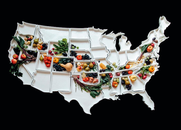 Handcrafted Porcelain State Plates Form 7Foot Map of the United
