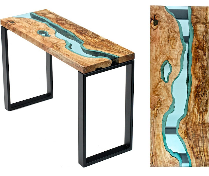 Gorgeous Reclaimed Wood Tables Embedded With Glass Rivers