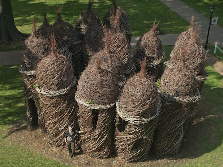 Massive Stick Sculptures Resemble Castles Nests And Coccoons