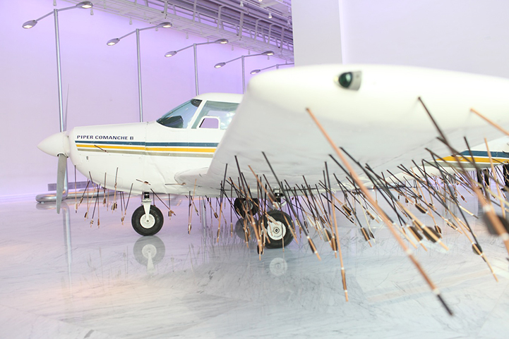 Hundreds Of Wooden Arrows Pierce Airplane From Below