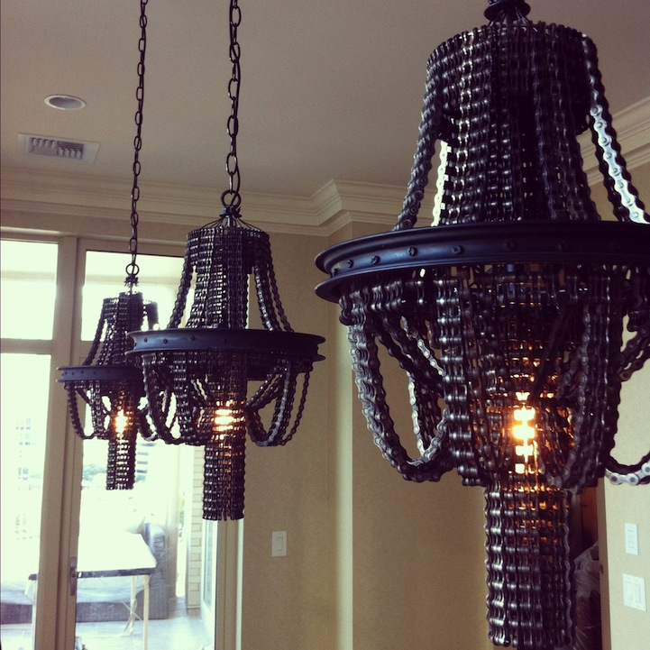 Magnificent chandeliers made of bicycle chains aloadofball Gallery