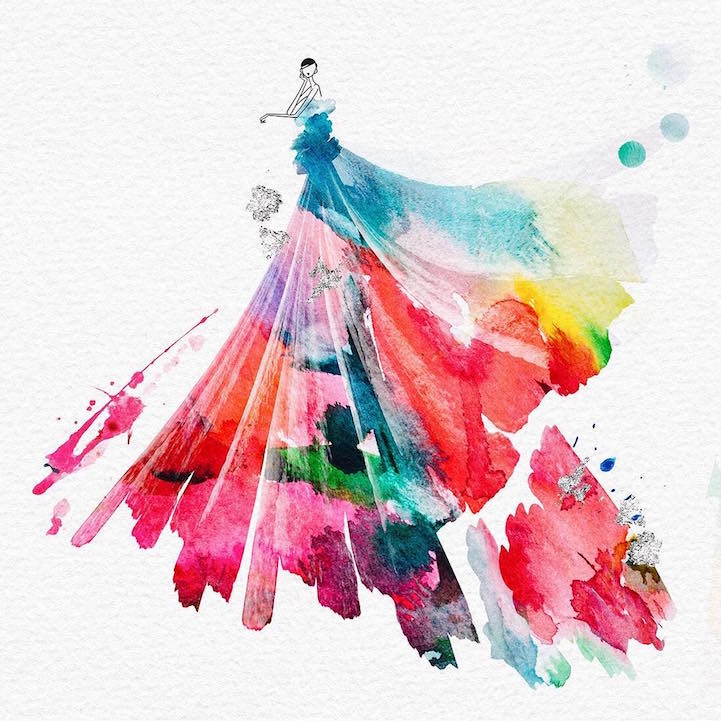 Artist Spontaneously Adds Color Drops to Beads of Water to Create Gorgeous  Fashion Illustrations