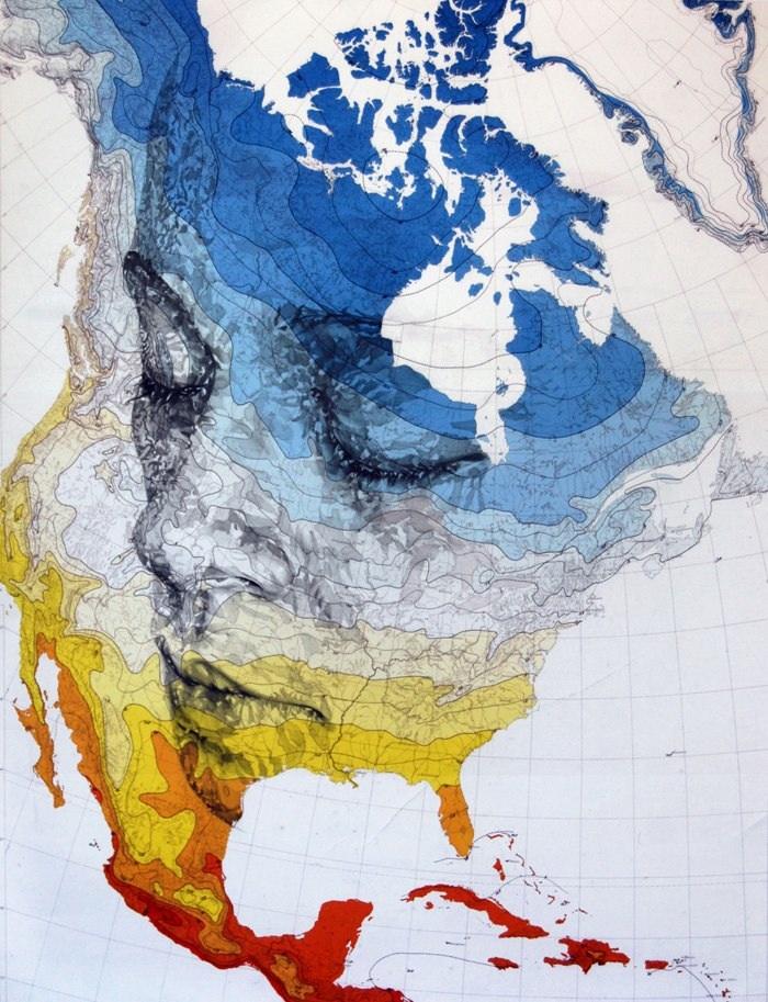 Incredible New Portraits Carved from Old Military Maps - photo#16