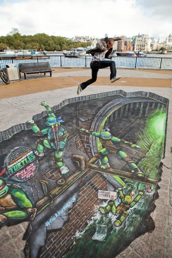 awesome 3d street painting teenage mutant ninja turtles