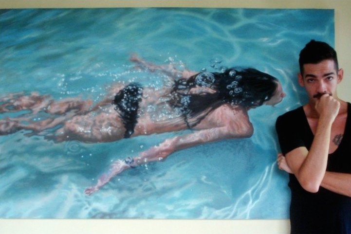 Artist Poses Playfully With Incredibly Lifelike Paintings Of Swimmers - Hyper realistic paintings nunez