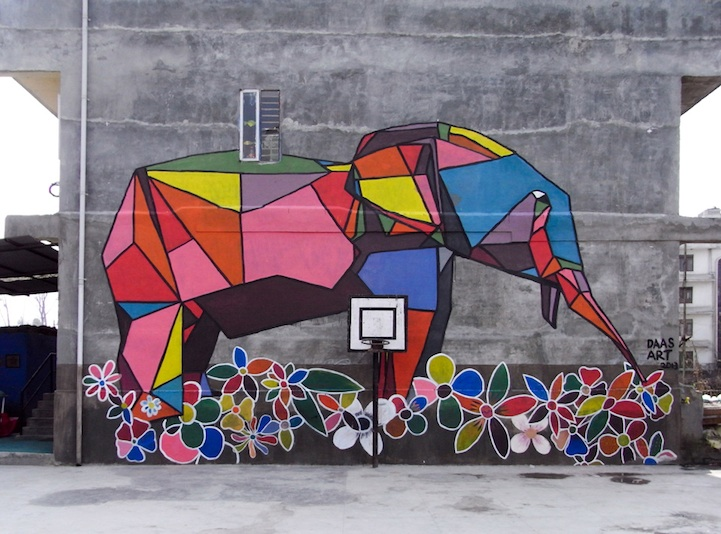 origami style street art brings color to nepal. Black Bedroom Furniture Sets. Home Design Ideas