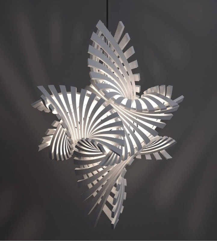 Complex Geometric Lamp Designs Produced With 3d Printing