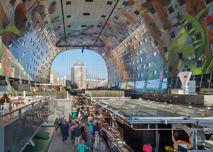 NewlyOpened Markthal Rotterdam Features Dazzling Square - Incredible 36000 sq ft mural lines ceiling market hall rotterdam