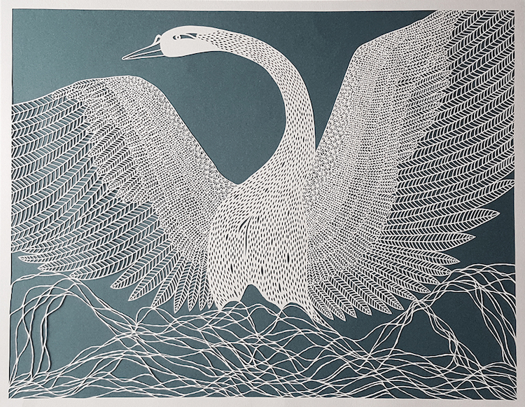 Single Line Drawing Artists : Artist transforms single sheets of paper into intricately cut designs