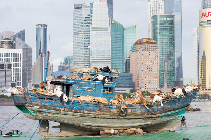Boatload Of 99 Animals Sail Down River In Shanghai To Illustrate