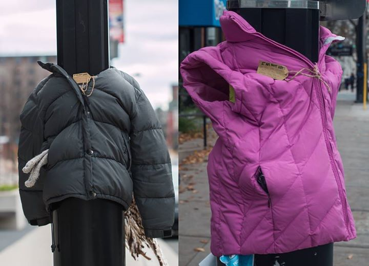 Image result for coats tied to lampposts for homeless people