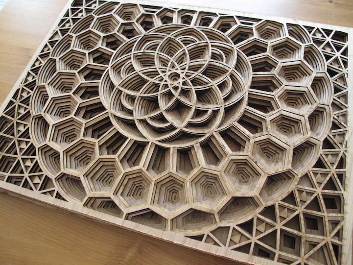 Amazingly Intricate Laser Cut Wood Relief Sculptures By