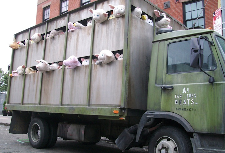 Image result for banksy animals in truck