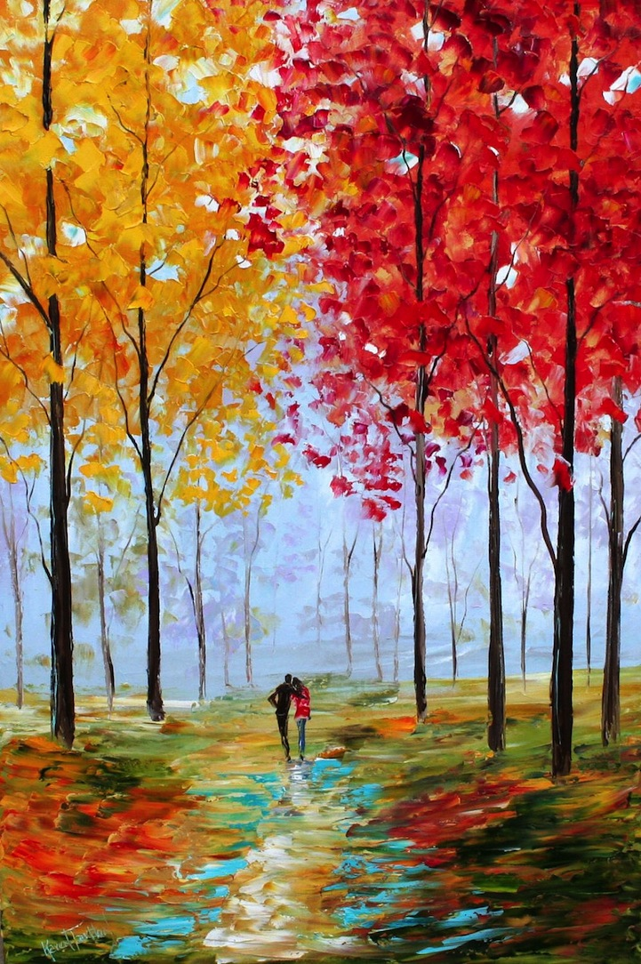 Romantic Textured Paintings Of Couples Walking Together