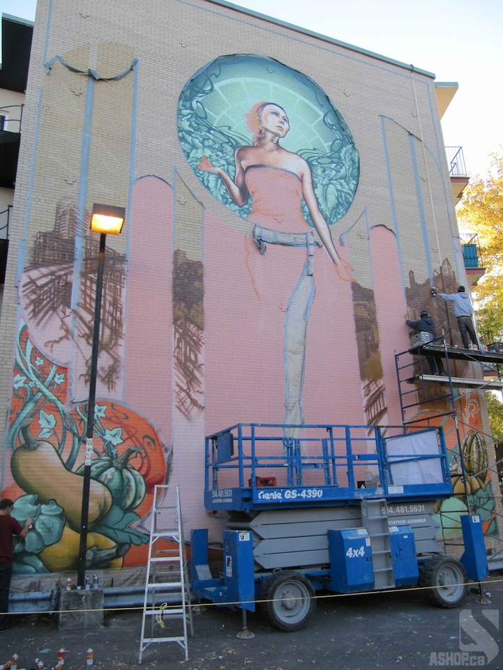 Massive Art Nouveau Inspired Mural In Montreal