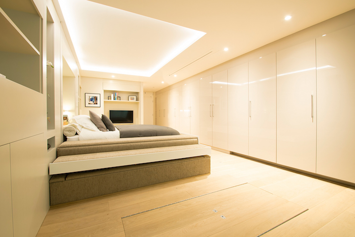 . Hidden Bed Descends from Ceiling to Turn a Living Room into the Bedroom
