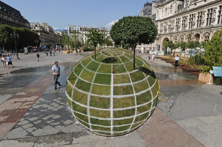 1. 3D Grass Globe at Paris City Hall
