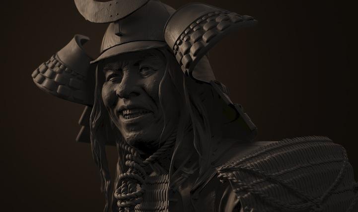 Amazing 3d digital sculptures of fierce samurais for 3d film archive