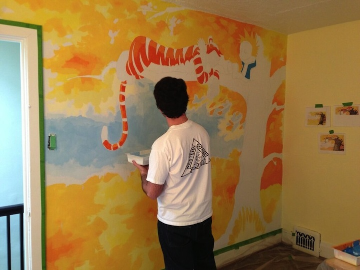 Awesome calvin and hobbes mural painted for a nursery for Calvin and hobbes bedroom mural