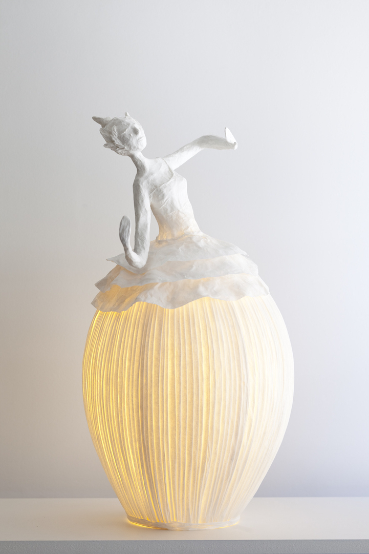figurative papier m ch lamp sculptures illuminate a room. Black Bedroom Furniture Sets. Home Design Ideas