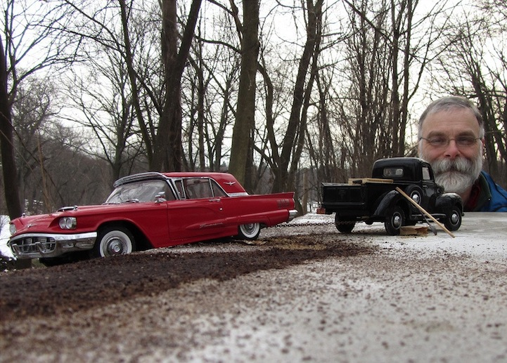 Model Cars Look Life Sized Through Forced Perspectives