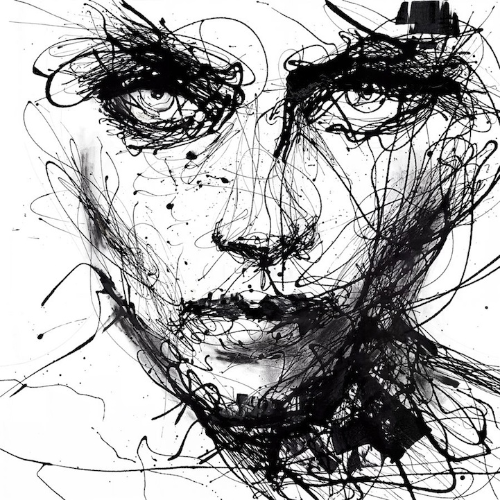 powerful dripping paint portraits by agnes cecile. Black Bedroom Furniture Sets. Home Design Ideas